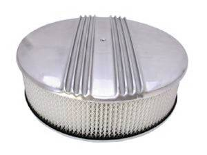 "Air Cleaner, Polished Aluminum 14"" X 4"" Round -Finned, Paper Element & Dominator Base Photo Main"