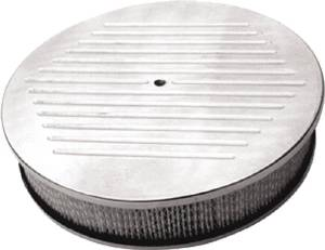 "Air Cleaner, Polished Aluminum 14"" X 3"" Round -Ball Milled, Paper Element & Recessed Base Photo Main"