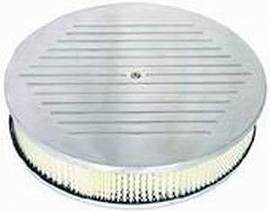 "Air Cleaner, Polished Aluminum 14"" X 3"" Round -Ball Milled, Paper Element & Dominator Base Photo Main"