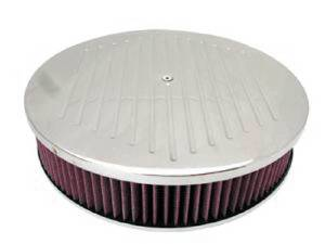 "Air Cleaner, Polished Aluminum 14"" X 3"" Round -Ball Milled, Washable Element & Dominator Base Photo Main"