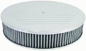 "Air Cleaner, Polished Aluminum 14"" X 3"" Round -Ball Milled, Washable Element & Flat Base Photo Main"