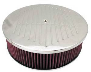 "Air Cleaner, Polished Aluminum 14"" X 4"" Round  -Ball Milled, Washable Element & Hi-Lip Base Photo Main"