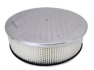 "Air Cleaner, Polished Aluminum 14"" X 4"" Round  -Ball Milled, Paper Element & Dominator Base Photo Main"