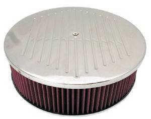 "Air Cleaner, Polished Aluminum 14"" X 4"" Round  -Ball Milled, Washable Element & Dominator Base Photo Main"
