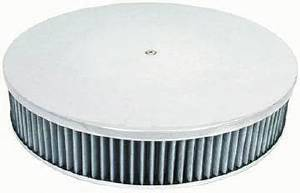 "Air Cleaner, Polished Aluminum 14"" X 3"" Round  -Plain, Washable Element & Off-Set Base Photo Main"