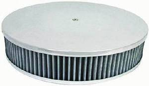 "Air Cleaner, Polished Aluminum 14"" X 3"" Round  -Plain, Washable Element & Recessed Base Photo Main"