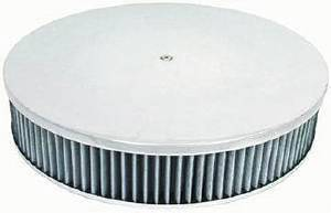"Air Cleaner, Polished Aluminum 14"" X 3"" Round  -Plain, Washable Element & Flat Base Photo Main"