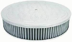 "Air Cleaner, Polished Aluminum 14"" X 3"" Round  -Flame, Washable Element & Flat Base Photo Main"