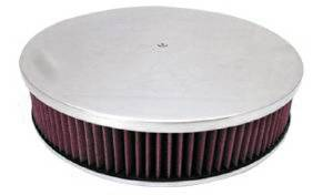 "Air Cleaner, Polished Aluminum 14"" X 3"" Round  -Plain, Washable Element & Dominator Base Photo Main"