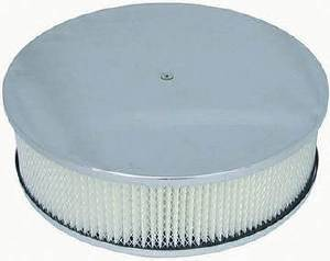 "Air Cleaner, Polished Aluminum 14"" X 4"" Round  -Plain, Paper Element & Flat Base Photo Main"