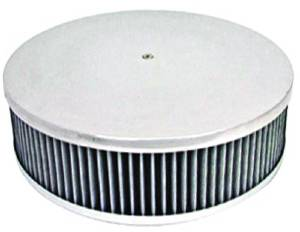 "Air Cleaner, Polished Aluminum 14"" X 4"" Round  -Plain, Washable Element & Recessed Base Photo Main"
