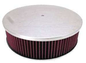 "Air Cleaner, Polished Aluminum 14"" X 4"" Round -Plain, Washable Element & Hi-Lip Base Photo Main"