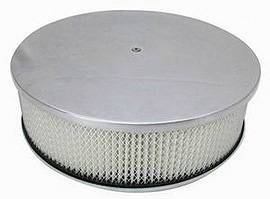 "Air Cleaner, Polished Aluminum 14"" X 4"" Round -Plain, Paper Element & Off-Set Base  Photo Main"