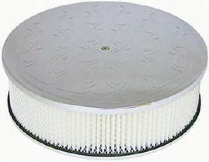 "Air Cleaner, Polished Aluminum 14"" X 4"" Round  -Flame, Paper Element & Off-Set Base Photo Main"
