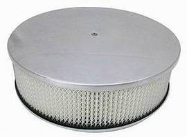 "Air Cleaner, Polished Aluminum 14"" X 4"" Round -Plain, Paper Element & Dominator Base Photo Main"