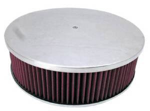 "Air Cleaner, Polished Aluminum 14"" X 4"" Round -Flame, Paper Element & Dominator Base Photo Main"