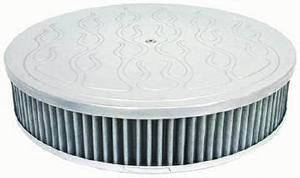 "Air Cleaner, Polished Aluminum 14"" X 4"" Round  -Flame, Washable Element & Dominator Base Photo Main"
