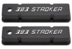 Valve Covers - Chevy Sb, Tall With '383 Stroker' Logo, Black Aluminum Photo Main
