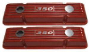 Valve Covers - Chevy Sb, Tall With '350' Logo, Orange Finned Aluminum Photo Main