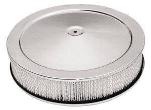 "Air Cleaner, Chrome 14"" X 3"" Muscle Car Style -Paper Element & Flat Base Photo Main"