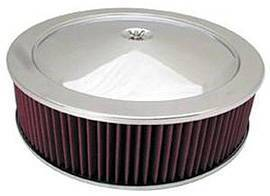 "Air Cleaner, Chrome 14"" X 4"" Muscle Car Style -Washable Element & Hi-Lip Base Photo Main"