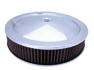 "Air Cleaner, Stainless Steel 14"" X 3"" Muscle Car Style -Washable Element & Hi-Lip Base Photo Main"