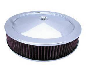 "Air Cleaner, Stainless Steel 14"" X 3"" Muscle Car Style  -Washable Element & Off-Set Base Photo Main"