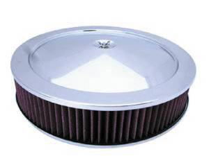 "Air Cleaner, Chrome 14"" X 3"" Muscle Car Style  -Washable Element & Recessed Base Photo Main"