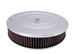 "Air Cleaner, Chrome 14"" X 3"" Performance Style  -Washable Element & Off-Set Base Photo Main"