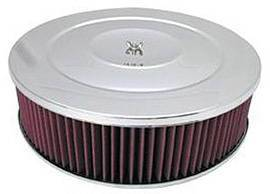 "Air Cleaner, Chrome 14"" X 4"" Performance Style  -Washable Element & Recessed Base Photo Main"