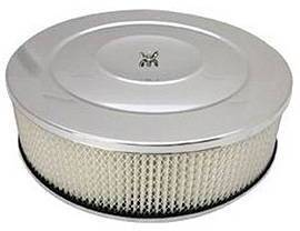 "Air Cleaner, Chrome 14"" X 4"" Performance Style  -Paper Element & Hi-Lip Base Photo Main"