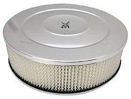 "Air Cleaner, Chrome 14"" X 4"" Performance Style  -Paper Element & Off-Set Base Photo Main"
