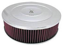 "Air Cleaner, Chrome 14"" X 4"" Performance Style -Washable Element & Off-Set Base Photo Main"