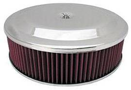 "Air Cleaner, Chrome 14"" X 4"" Race Car Style  -Washable Element & Recessed Base Photo Main"
