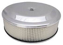 "Air Cleaner, Chrome 14"" X 4"" Race Car Style  -Paper Element & Off-Set Base Photo Main"