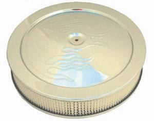 "Air Cleaner, Chrome 14"" X 4"" With ""Flames"" -Paper Element & Off-Set Base Photo Main"