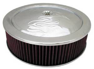 "Air Cleaner, Chrome 14"" X 4"" With ""Flames"" -Washable Element & Off-Set Base Photo Main"