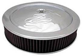 "Air Cleaner, Chrome 14"" X 3"" With ""Flames"" -Washable Element & Recessed Base Photo Main"