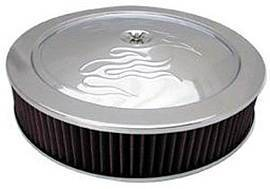 "Chrome 14"" X 3"" Air Cleaner Set With ""Flames"" -Washable Element & Flat Base Photo Main"
