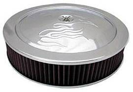 "Air Cleaner, Chrome 14"" X 3""  With ""Flames"" -Washable Element & Off-Set Base Photo Main"