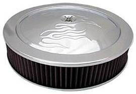 "Air Cleaner, Chrome 14"" X 3""  With ""Flames"" -Washable Element & Dominator Base Photo Main"