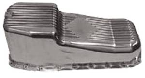 Oil Pan, 1980-85 Small Block Chevy Polished Aluminum -Passenger Side Dipstick Photo Main