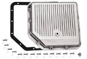 Transmission Pan, GM Turbo 350 -Polished Aluminum, Finned Photo Main