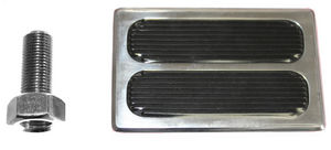 Brake Pedal, Polished Aluminum Brake Pad With 2 Rubber Inserts Photo Main