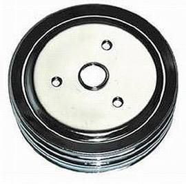 Crank Shaft Pulley, Chrome - Triple Groove -Short Water Pump, Small Block Chevy 283-350 Photo Main
