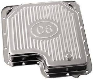 Chrome Ford C-6 Transmission Pan - Finned Photo Main