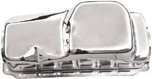 Oil Pan, 1964-87 Chrysler 273-318-340 V8 - Chrome Front Sump Photo Main