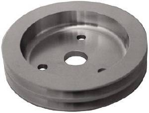 Crank Shaft Pulley - Satin Aluminum -Small Block Chevy Double Groove (Short Water Pump) Photo Main