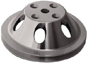Water Pump Pulley (Long Water Pump) Single Groove, Satin Aluminum, Small Block Chevy  Photo Main
