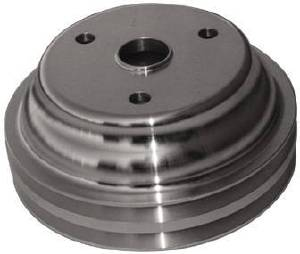 Crank Shaft Pulley - Satin Aluminum -Small Block Chevy Double Groove (Long Water Pump) Photo Main